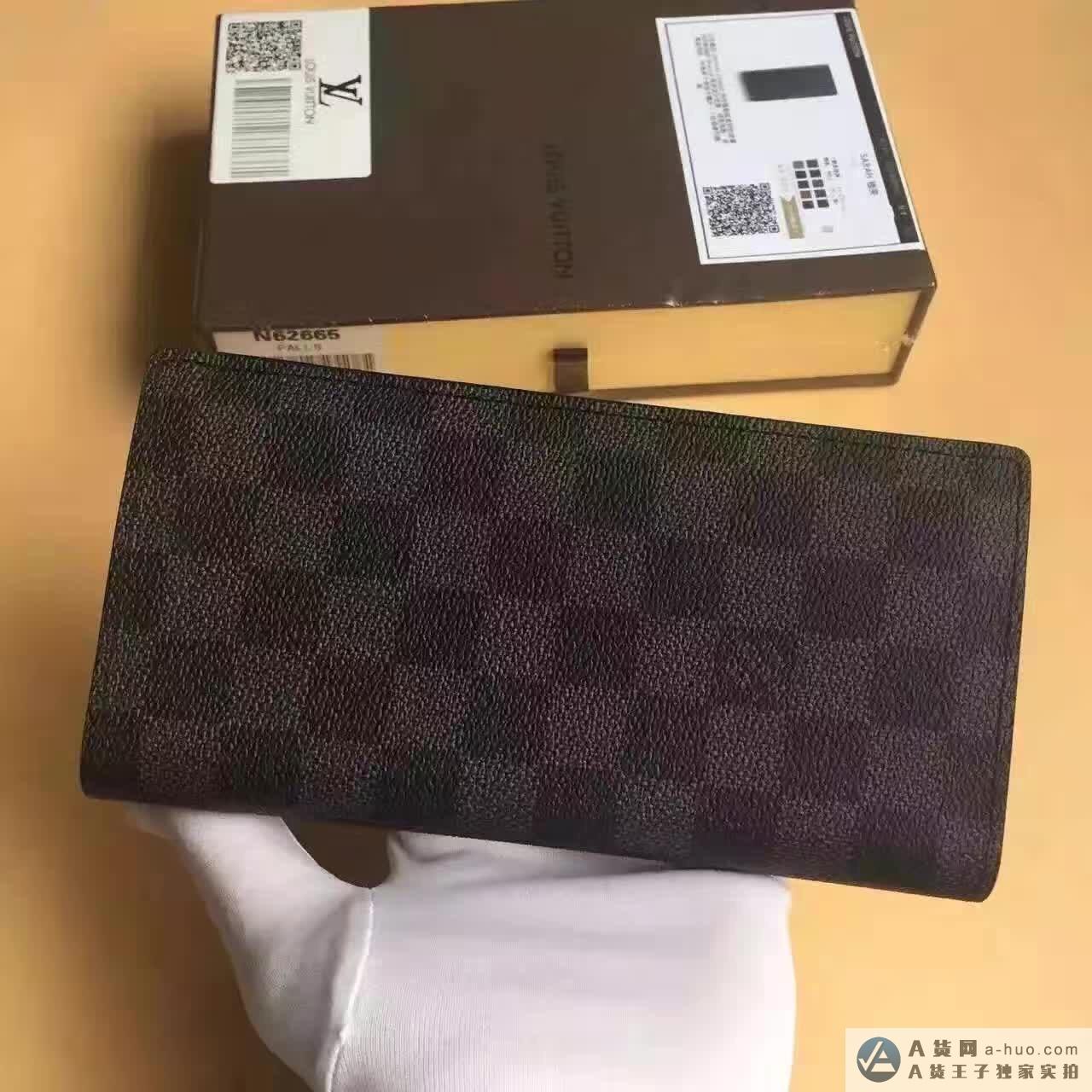 N62665男士lv灰格长款钱包
